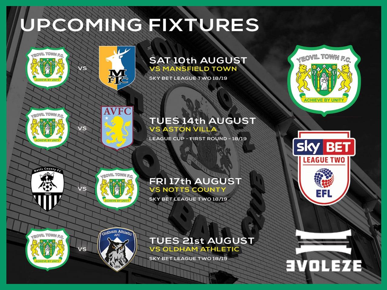 fixture list Yeovil Town FC