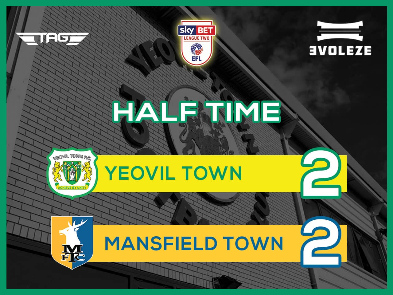 half time Yeovil Town FC