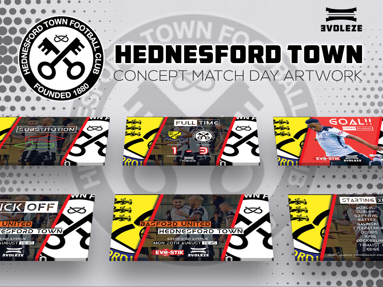 Hednesford Town FC match day artwork set