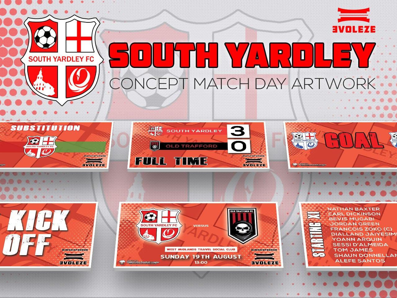 South Yardley FC match day artwork set