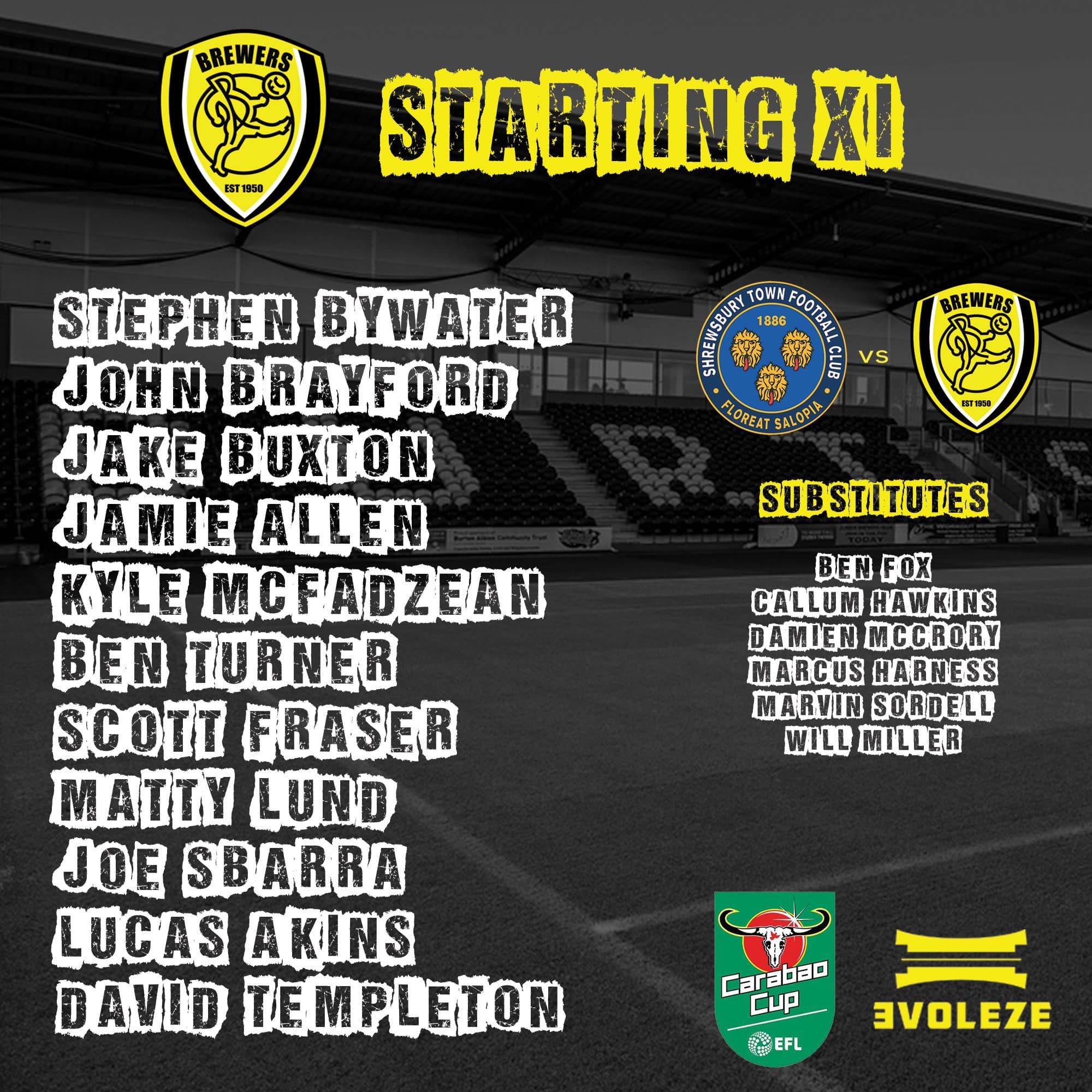 starting xi Burton Albion FC