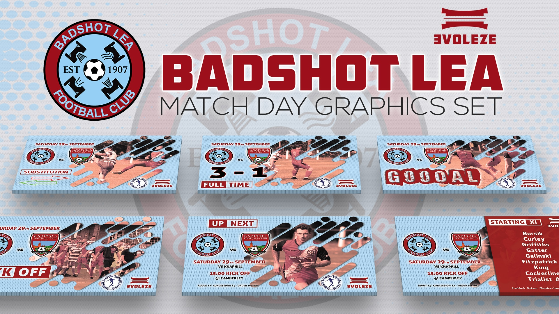 Badshot Lea FC match day graphics set