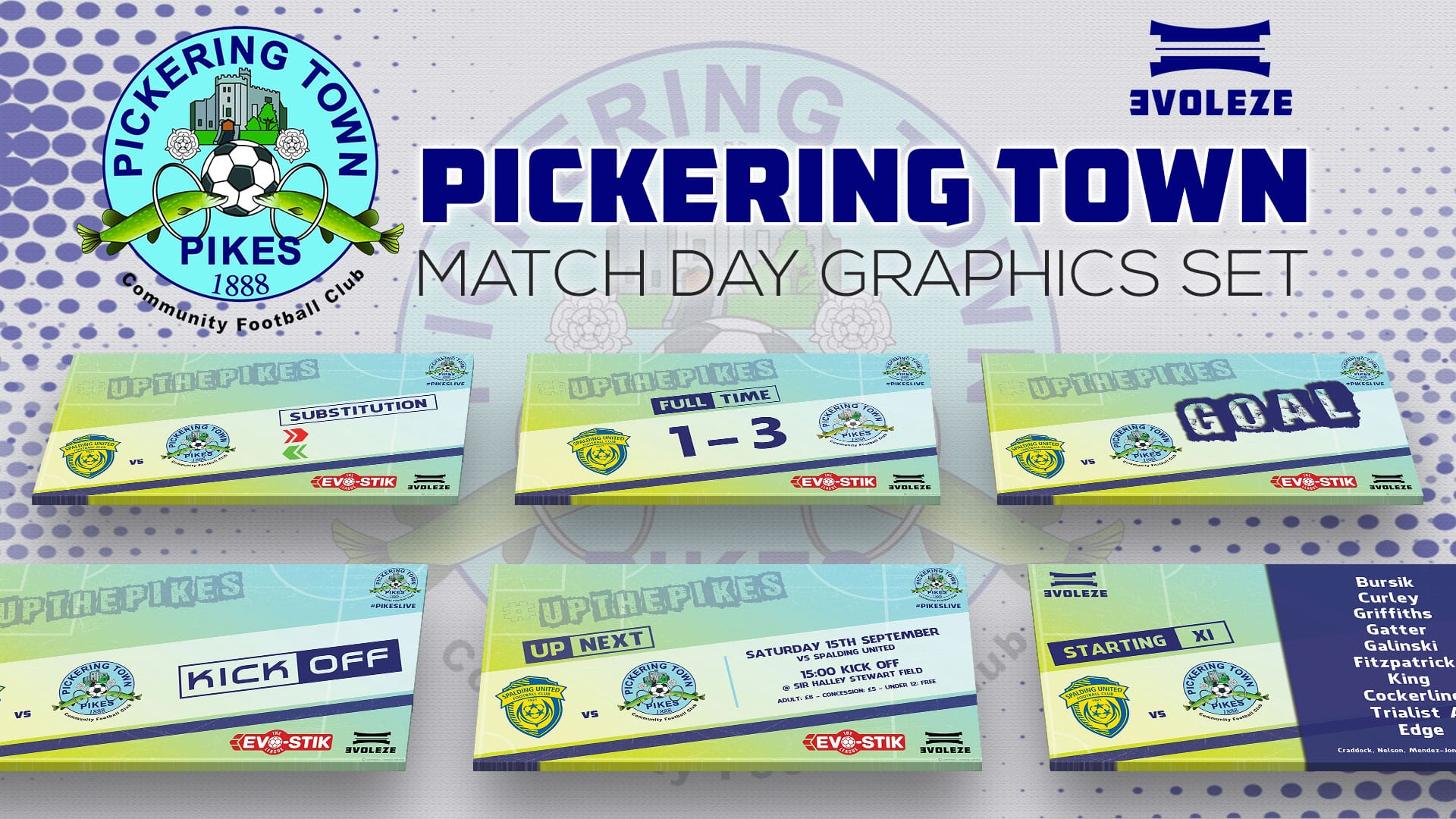 pickering town fc match day graphics set