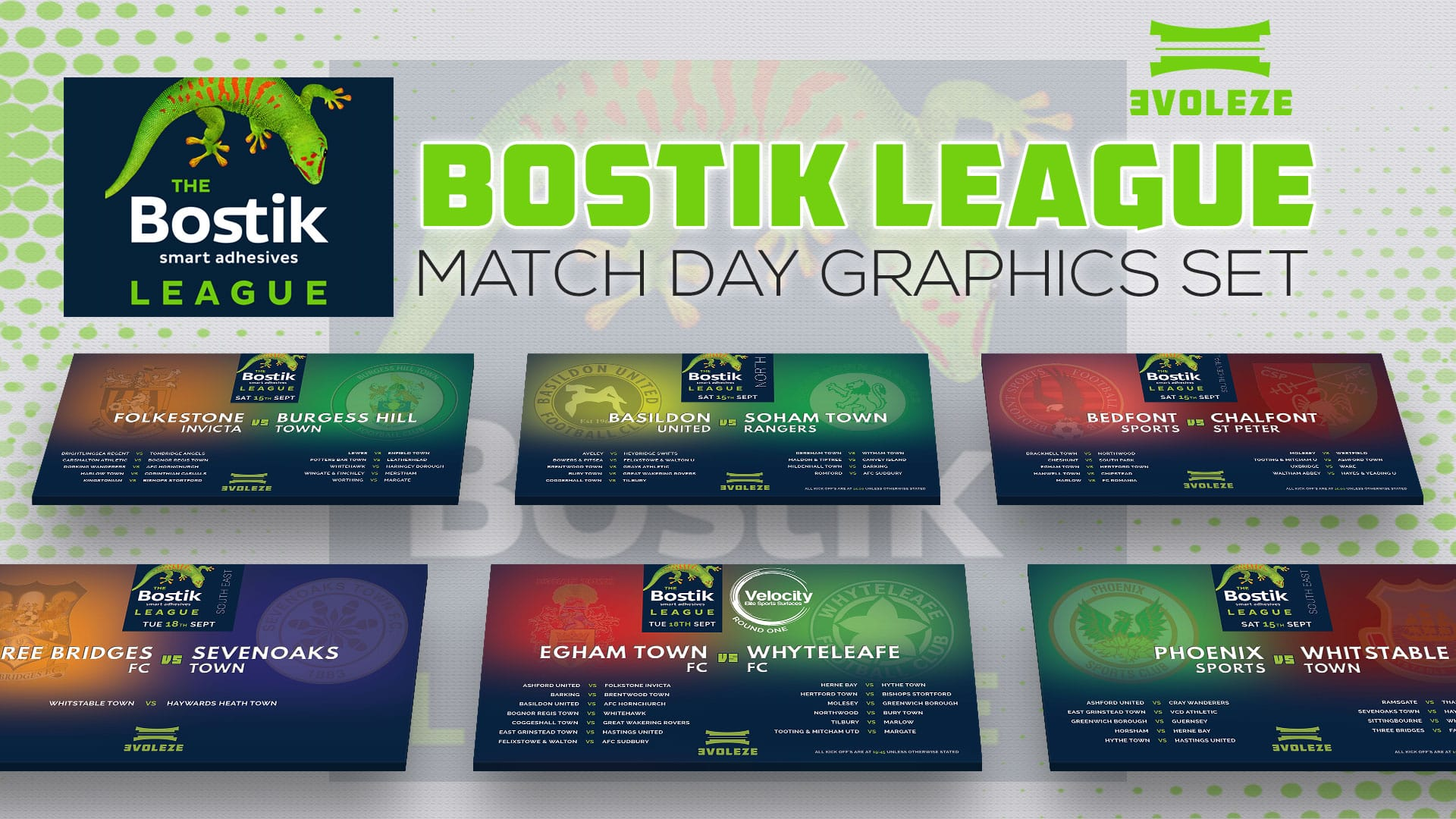 the bostik league match day graphics set