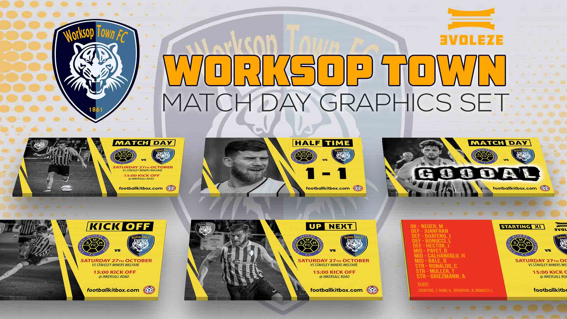 worksop town fc match day graphics set