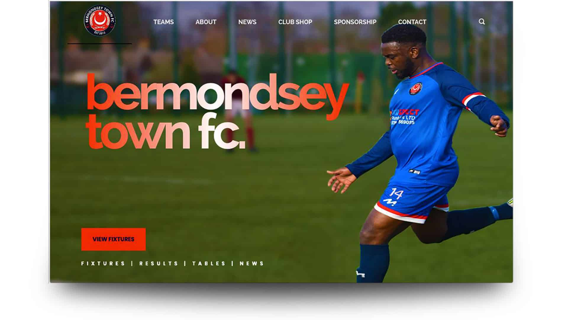 bermondsey town fc - football website design