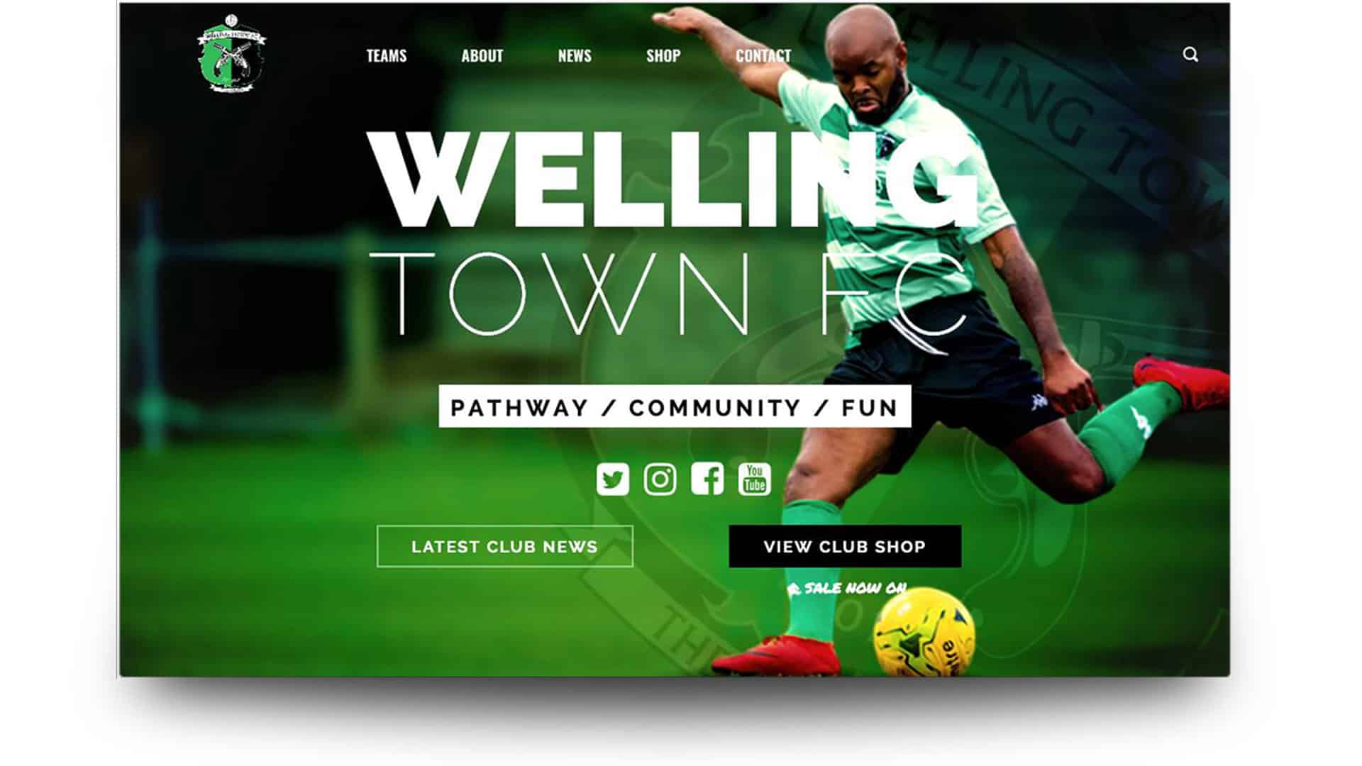 welling town fc - football website portfolio