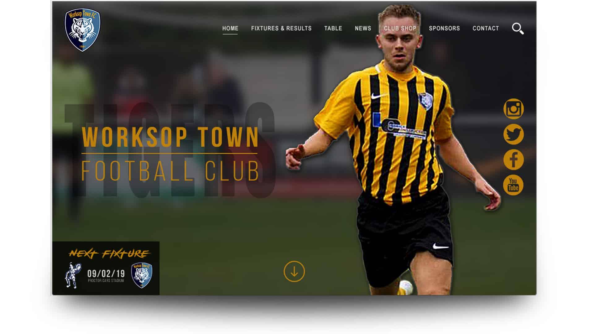worksop town fc - wordpress website design
